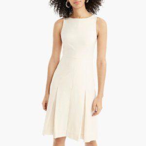 J.crew White Pleated Dress in Wool Felt